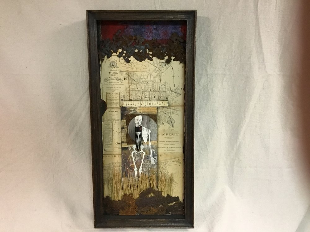 "Stephen Martin,  Storm Clouds Gathered after his Death,  assemblage, 12"" x 24"""