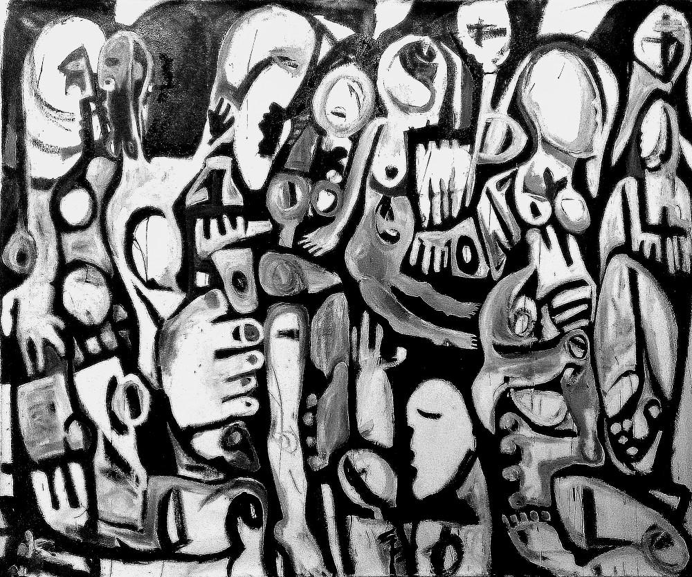 """Sorin Bica,  Intermission , oil on canvas, 68"""" x 78"""""""