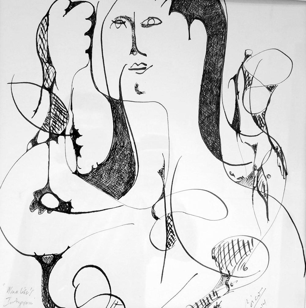 "Sorin Bica, Mona Lisa's Instagram , ink on paper, 17"" x 17"""