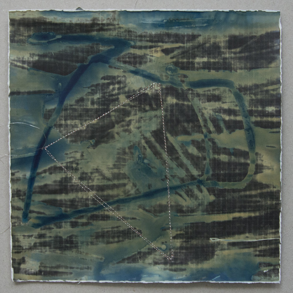 Memory Fragments 3 , an element in the Memory Fragments installation. Cyanotype on silver gelatin with stitched lines.