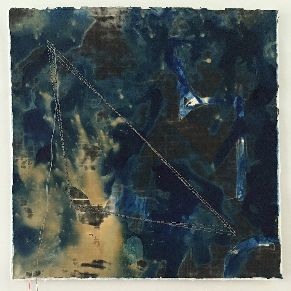 Memory Fragments 35 , an element in the Memory Fragments installation. Cyanotype on silver gelatin with stitched lines.