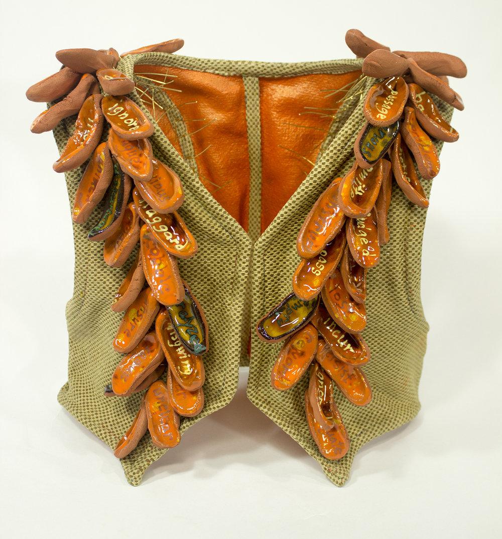 Work Vest 7 ,ceramic, fiber, steel, copper, and acrylic