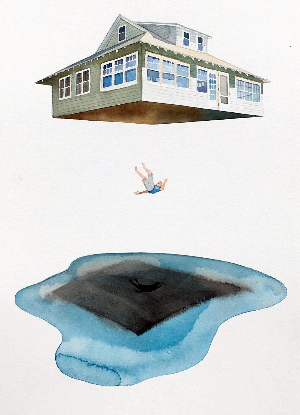 Free Fall , watercolor