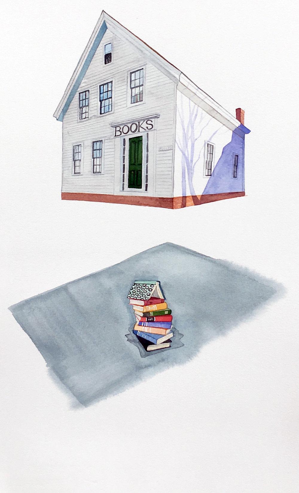 Rising Bookstore , watercolor