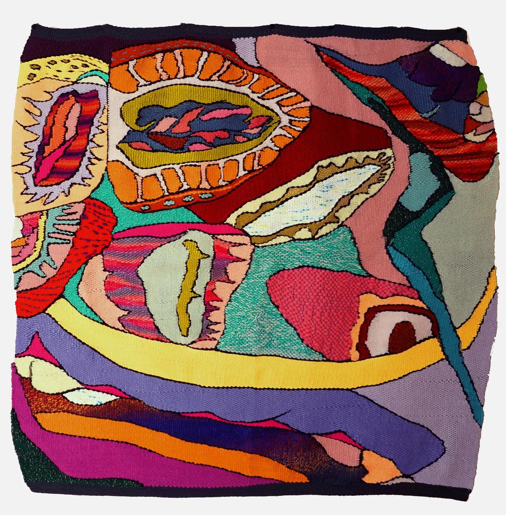 "Strawberries , tapestry (yarn), 41"" x 39"""