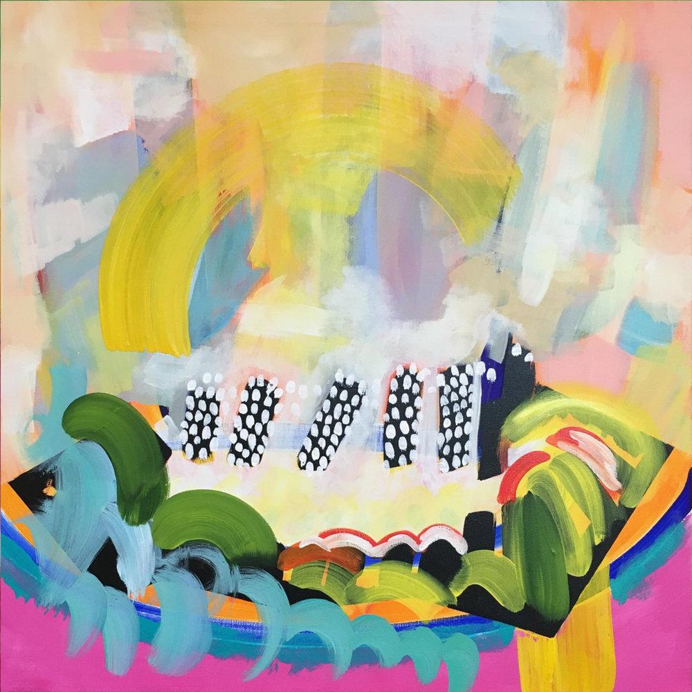 "Resounding Cries ,acrylic on canvas, 24"" x 24"""