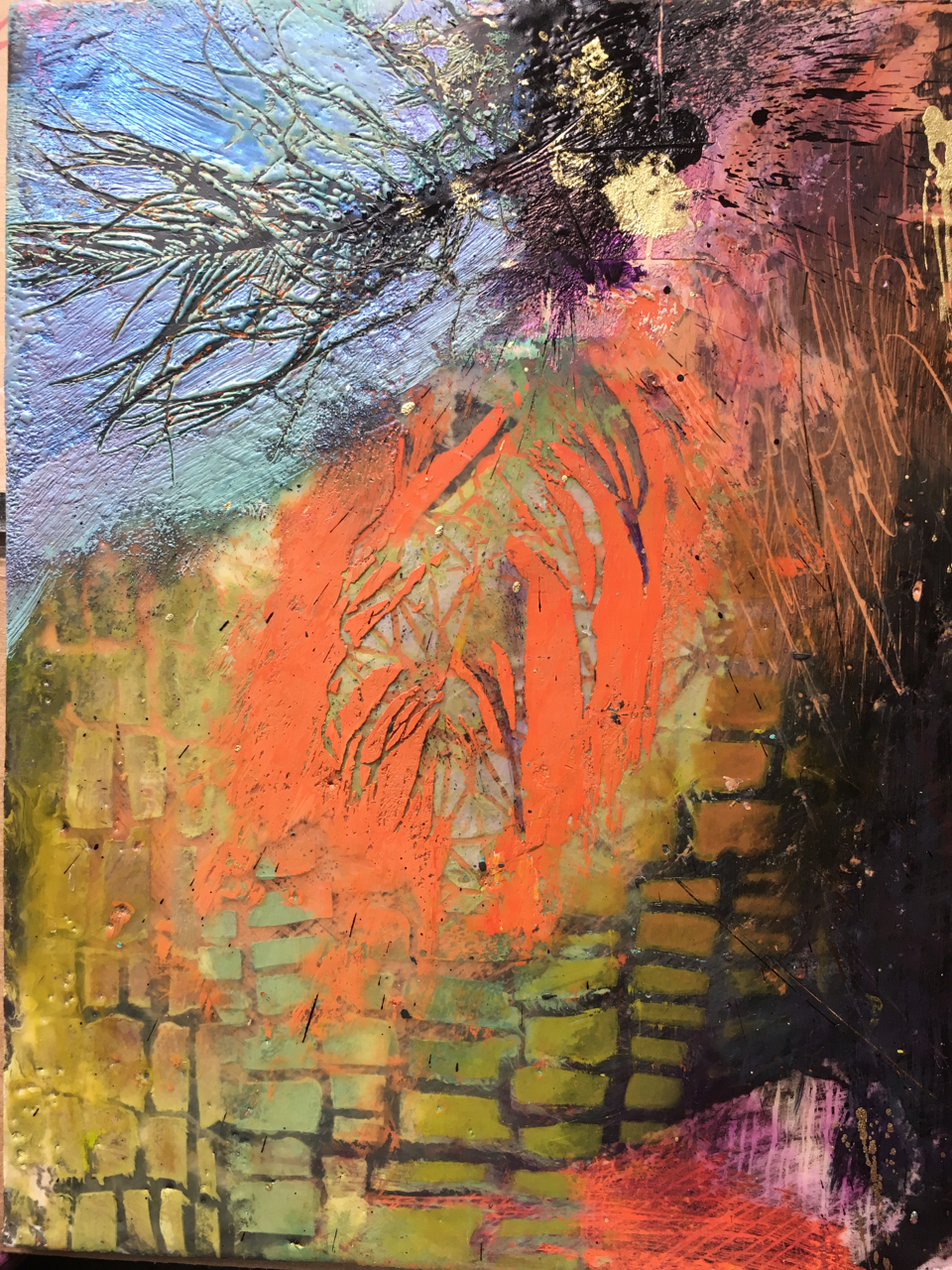 Mary Marley,  Freefall ,   Encaustic Paint