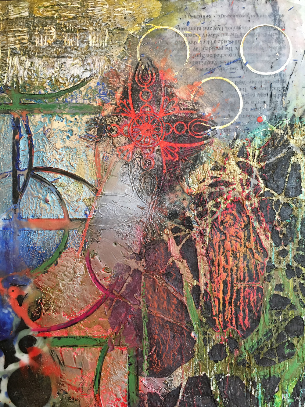 Mary Marley,  Annunciation,  Encaustic paint