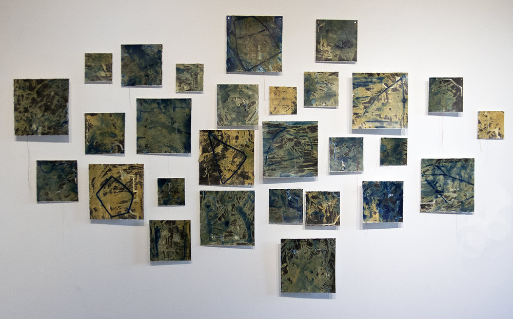 Memory Fragments Installation, cyanotype on silver gelatin with stitched lines.
