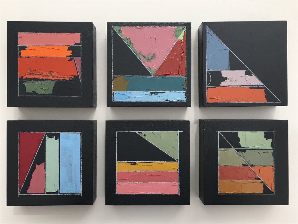 "Mia Cross,  Color Studies 1–6,  Acrylic, oil, colored pencil on canvas, 6""x6"" each"