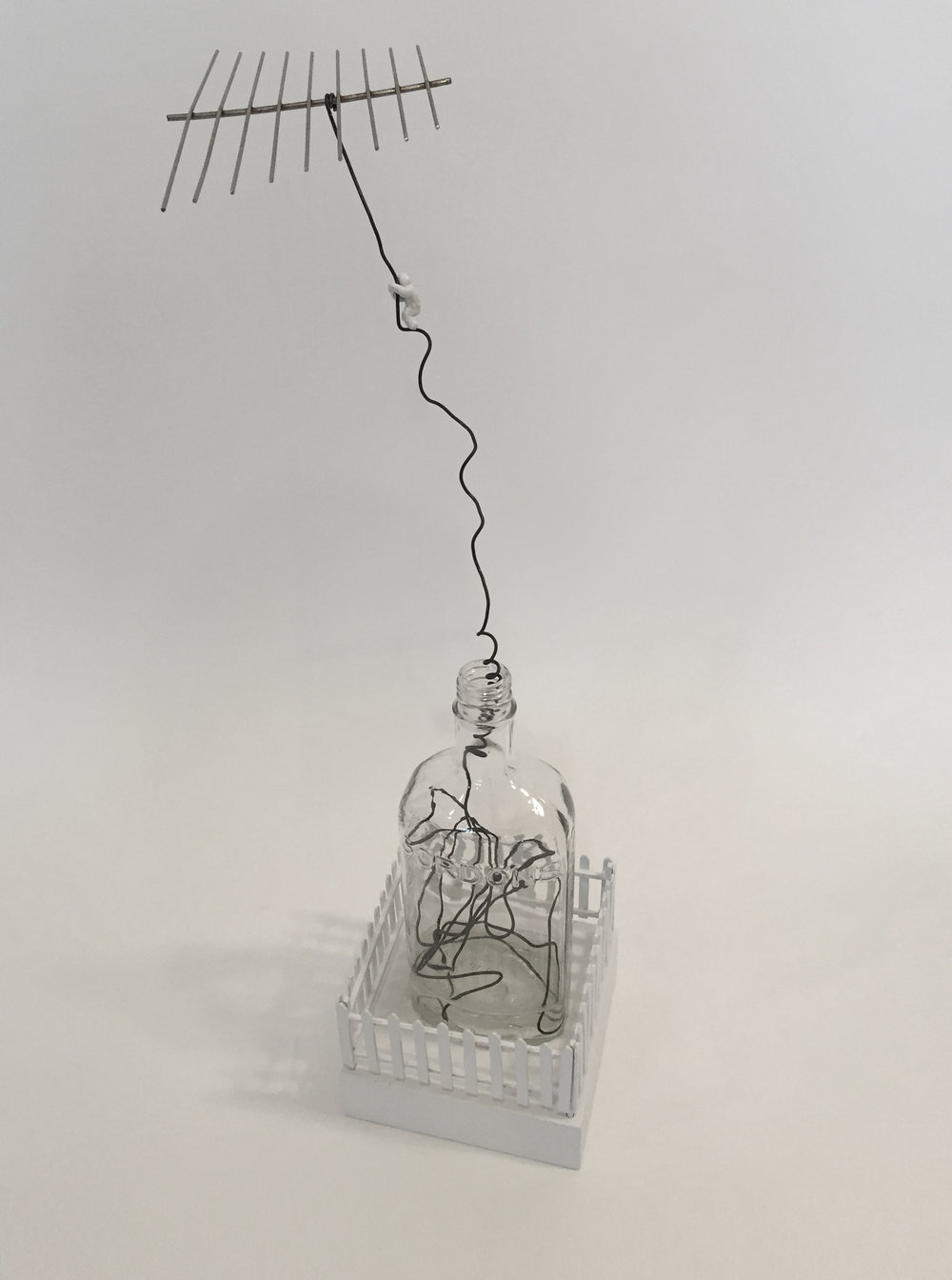 "Doug Cross,  Escape , Glass bottle, wire and wood, 21""x6"""