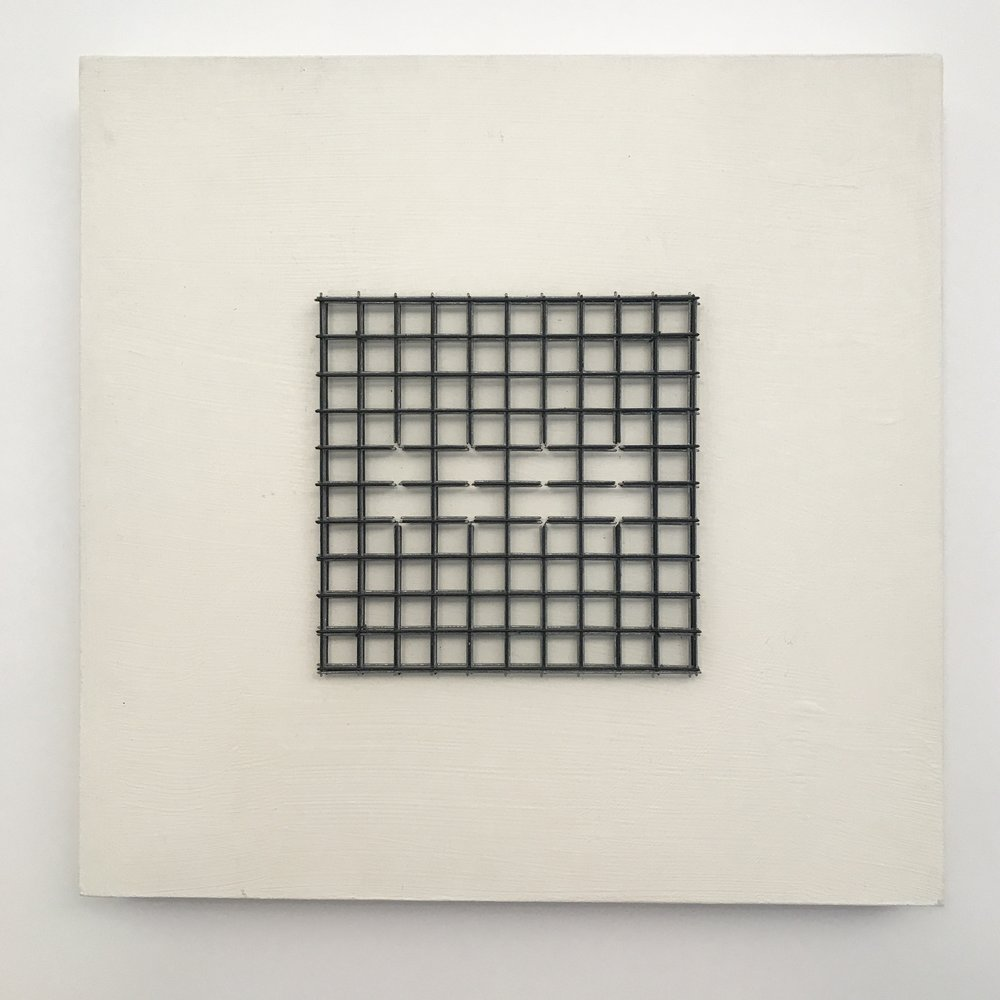 "Doug Cross,  Meditation Square  #2,  Wire mesh and wood, 12""x12""x3"""