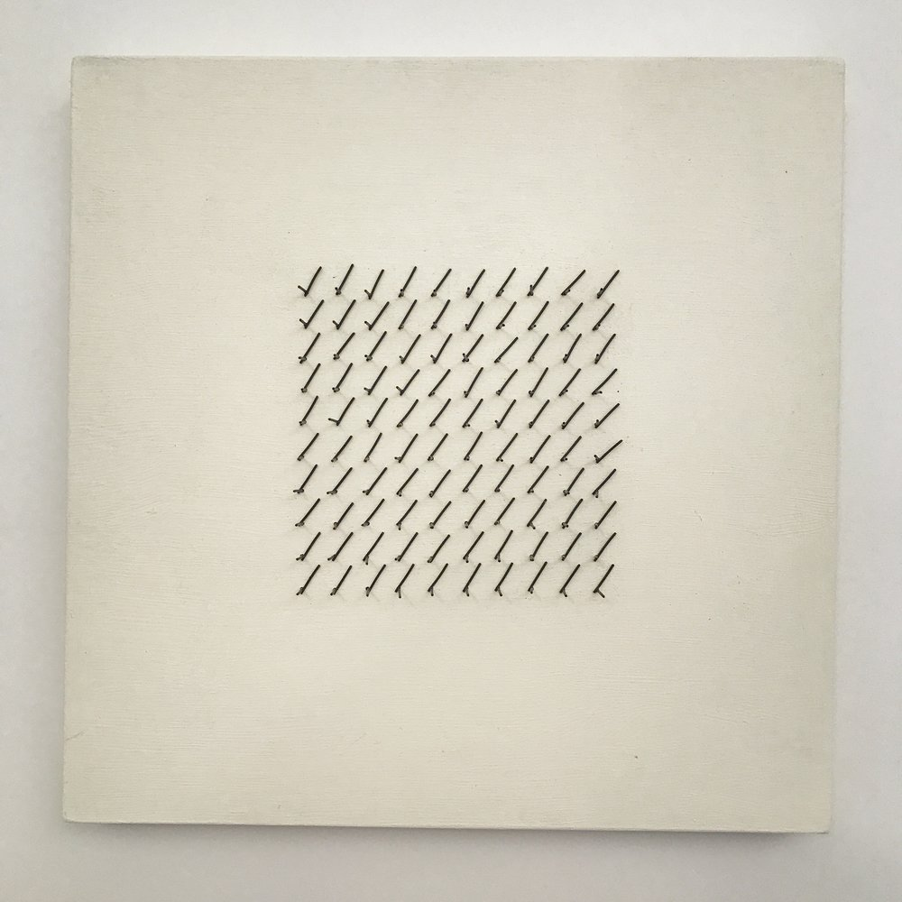 "Doug Cross,  Meditation Square #1 , Wire mesh and wood, 12""x12""x3"""