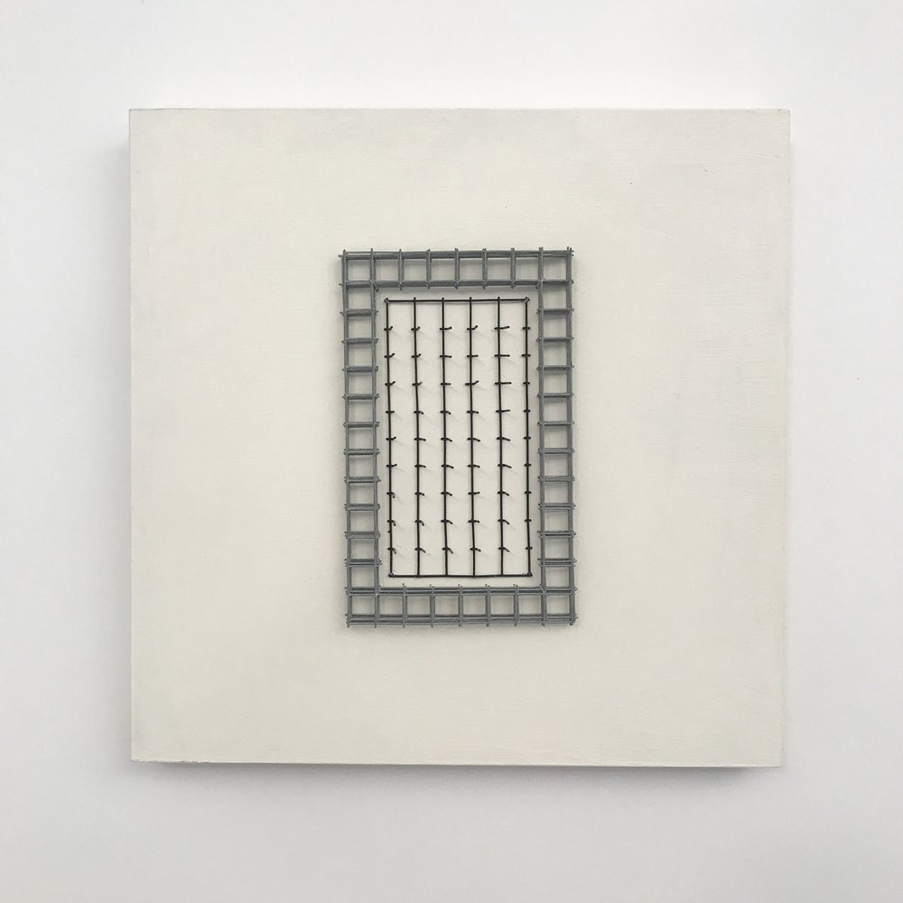 "Doug Cross,  Meditation Square #3 , Wire mesh and wood, 12""x12""x3"""