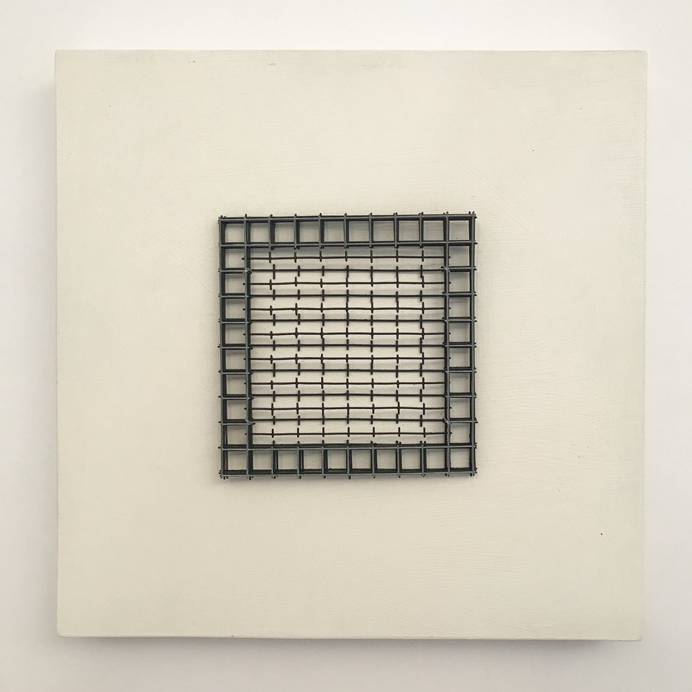 "Doug Cross,  Meditation Square #4,  Wire mesh and wood, 12""x12""x3"""