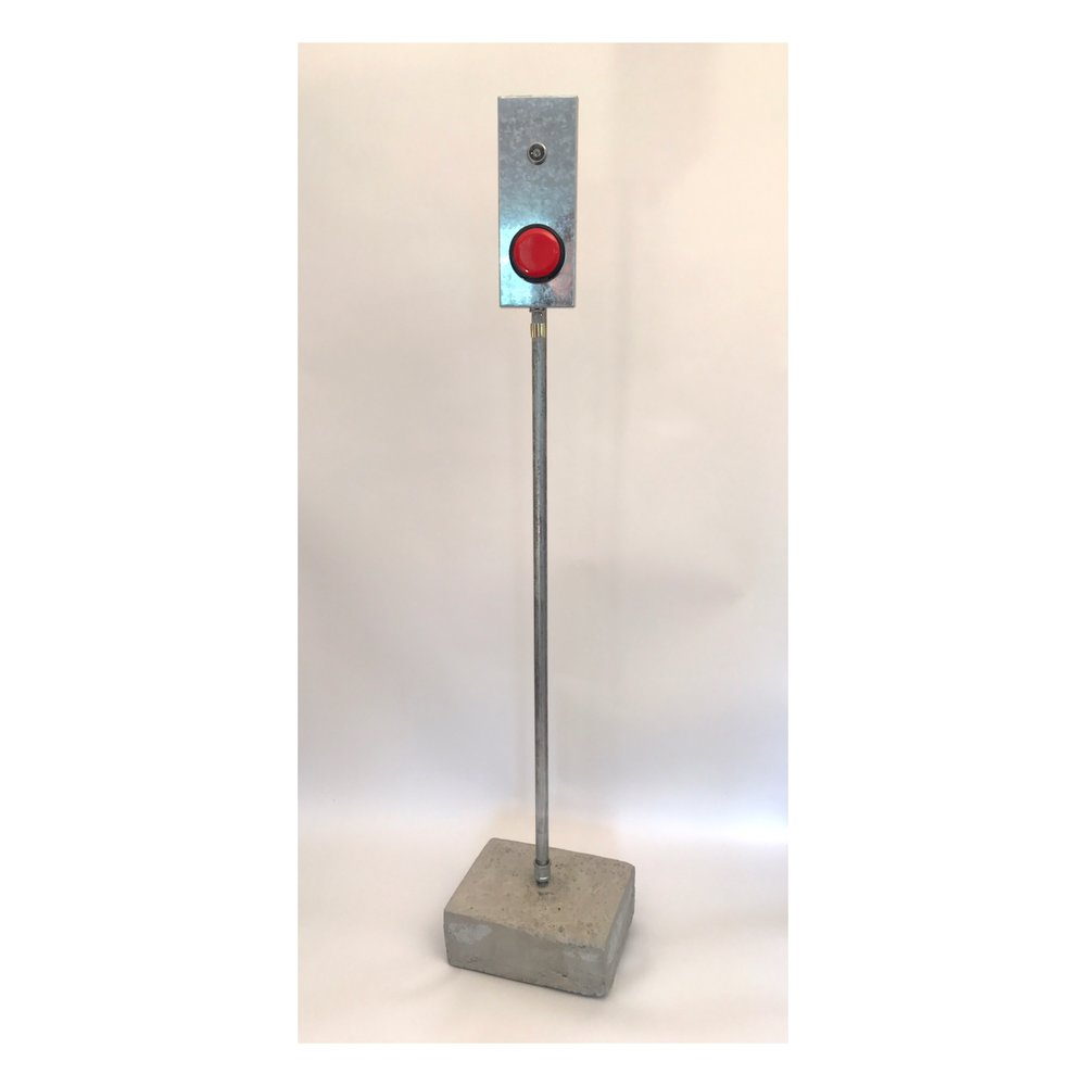 Doug Cross,  Push , Metal box with push button, mounted on pole, 6'x6""