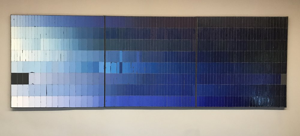 Mia Cross,  The Color Blues I Would Miss Most if I Went Blind, Part 1 , House paint, oil, colored pencil on canvas, 4'x12'