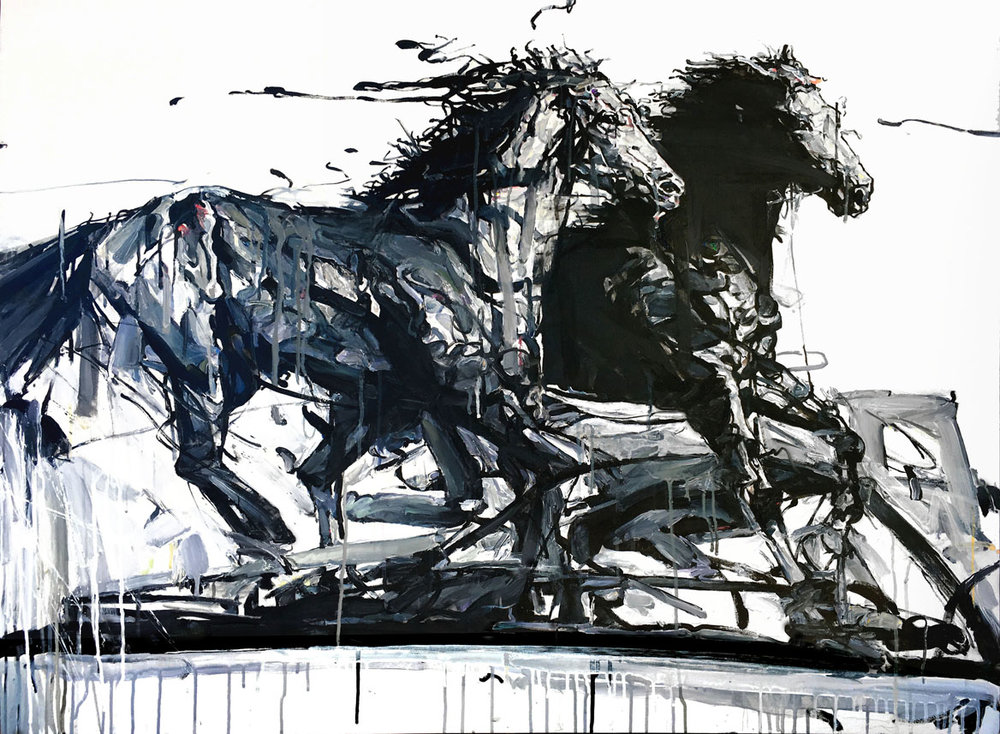 Shao Yuan Zhang,  Black Stallions,  Acrylic and oil on canvas, 36x48