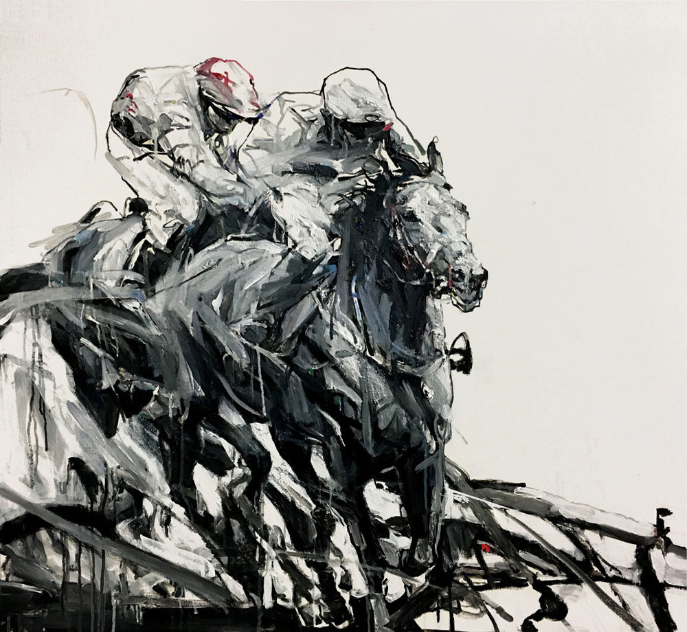 Shao Yuan Zhang,  Racetrack,  Acrylic and oil on canvas, 36x41