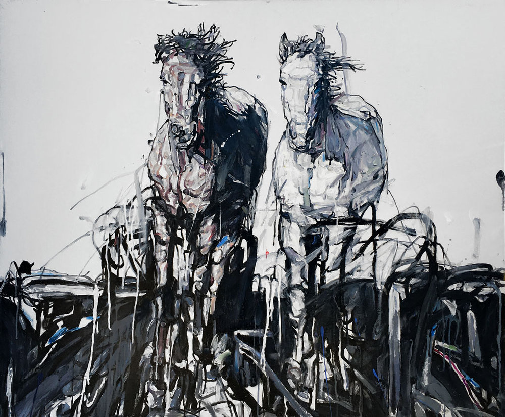 Shao Yuan Zhang,  Stallions,  Acrylic and oil on canvas, 36x46