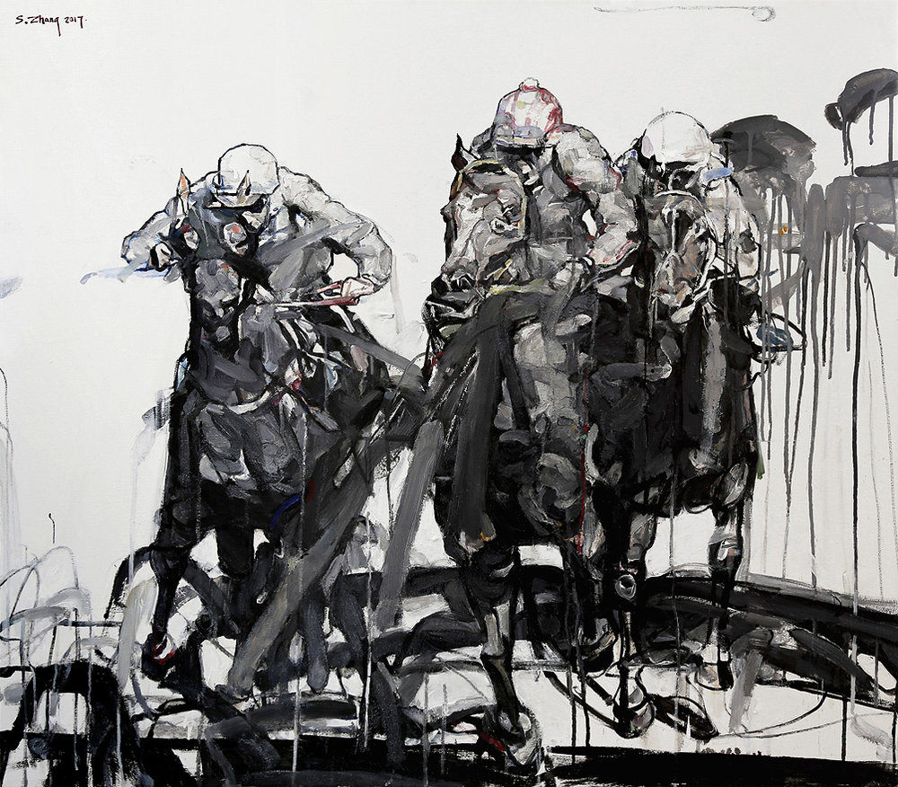 Shao Yuan Zhang,  The Derby,  Oil on canvas, 38x43