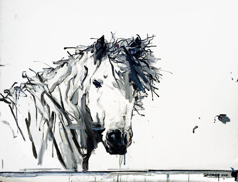 Shao Yuan Zhang,  Unbridled,  Acrylic and oil on canvas, 28x36
