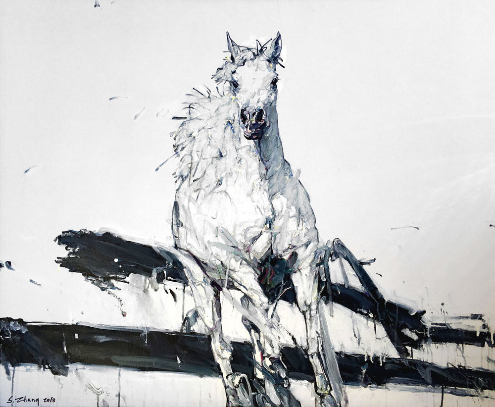 Shao Yuan Zhang,  White Stallion , Acrylic and oil on canvas, 38x46