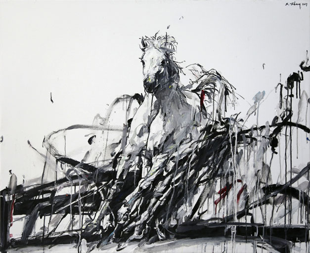 Shao Yuan Zhang,  Wind Horse,  Acrylic and oil on canvas, 38x46