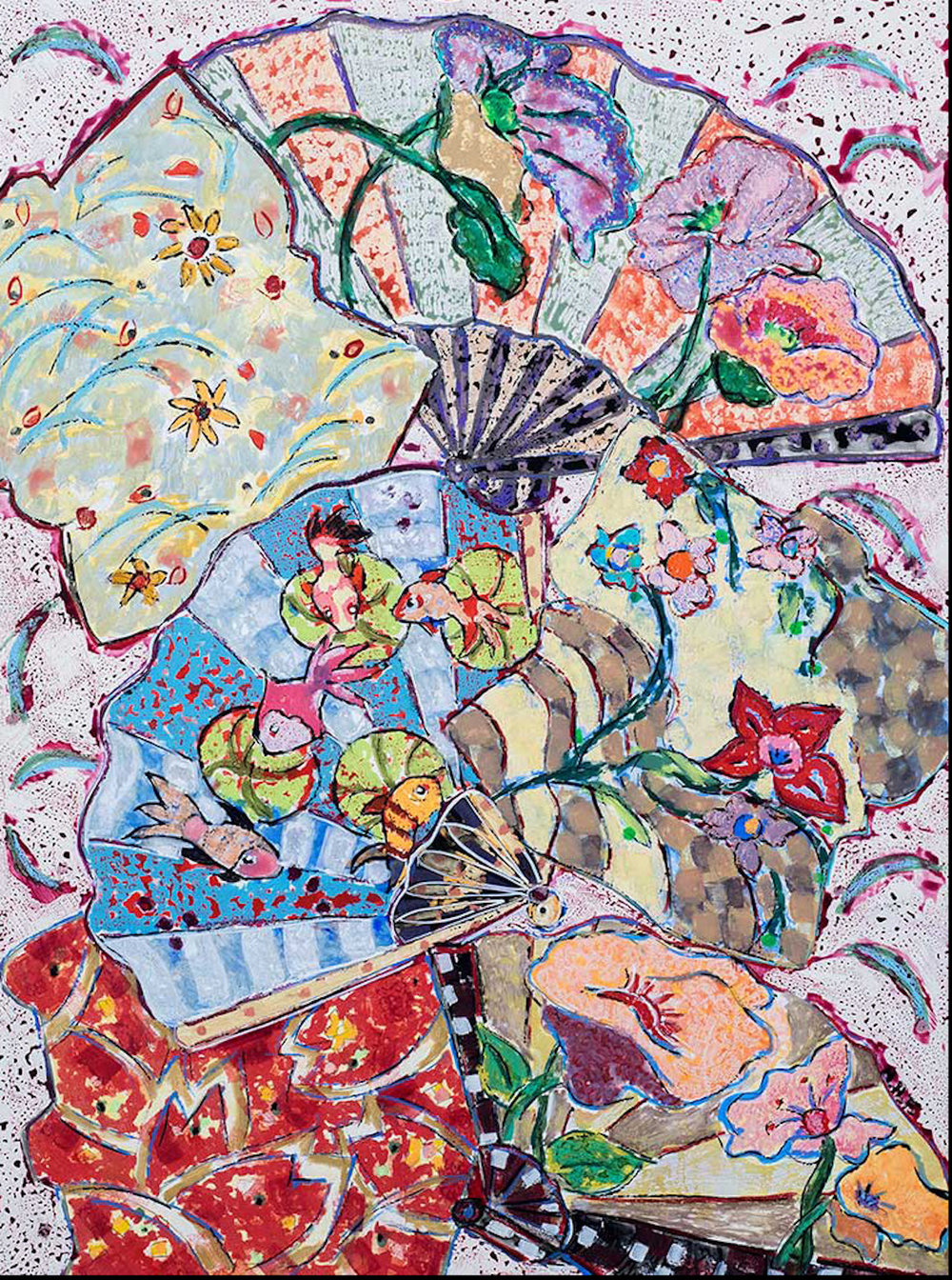 Nan Hass Feldman,  Fantasia with Fish and Fans , Mixed-media, 24x18
