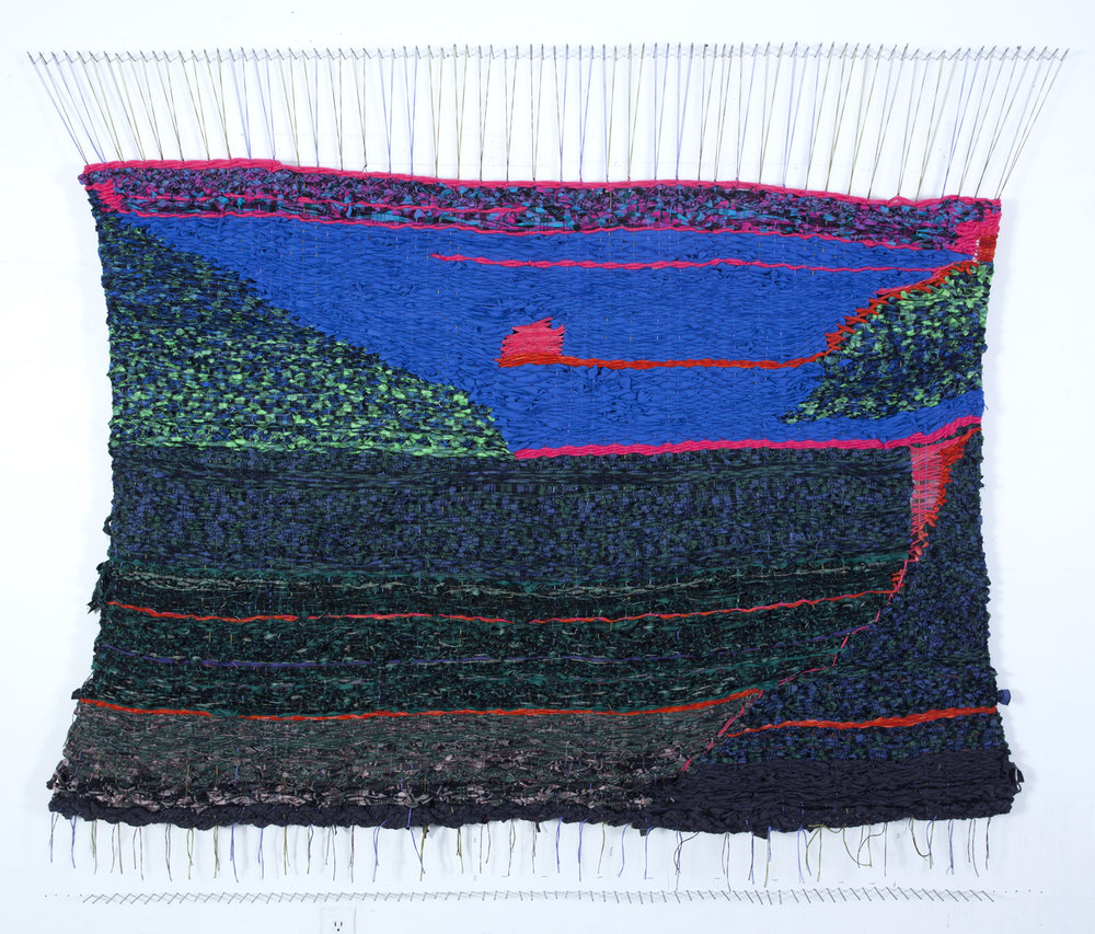 Stacey Piwinski,  Envelope of Sadness , Flannel remnants, yarn and string, 49x78