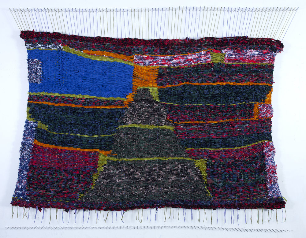 Stacey Piwinski,  Passage to the Sky , Flannel remnants, yarn and string, 47x76