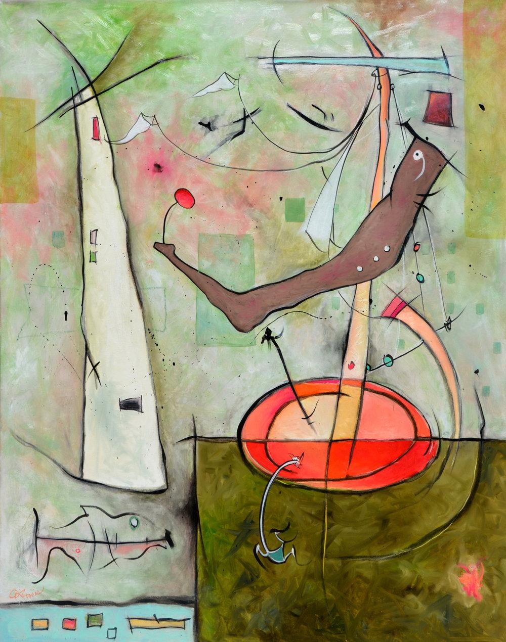 Anita Loomis,  Air, Land, Sea , oil on canvas, 120x50, detail