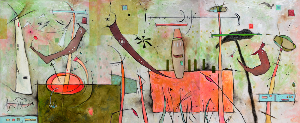 Anita Loomis,  Air, Land, Sea , oil on canvas, 120x50
