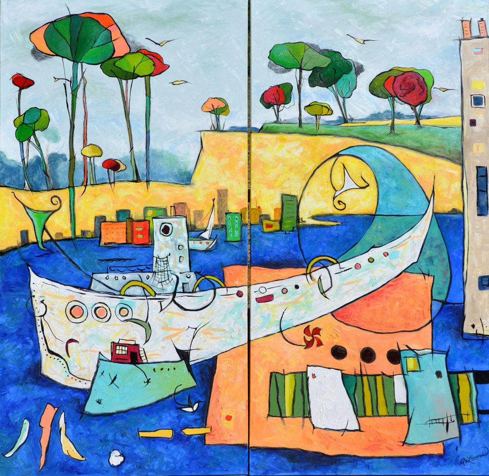 Anita Loomis,  Olde Port , oil on canvas, 60x60
