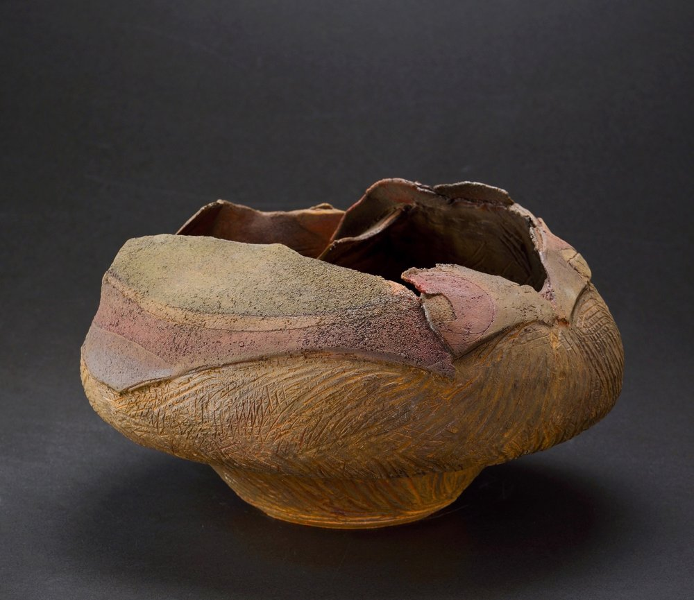 Mimi Howard,  Eclipsed Globe , unglazed stoneware, 20x12x11