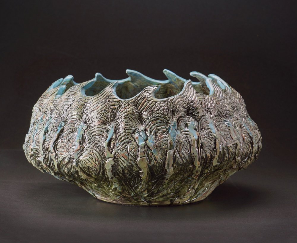 Mimi Howard,  Waves, Inside/Out , glazed stoneware, 20x18x15