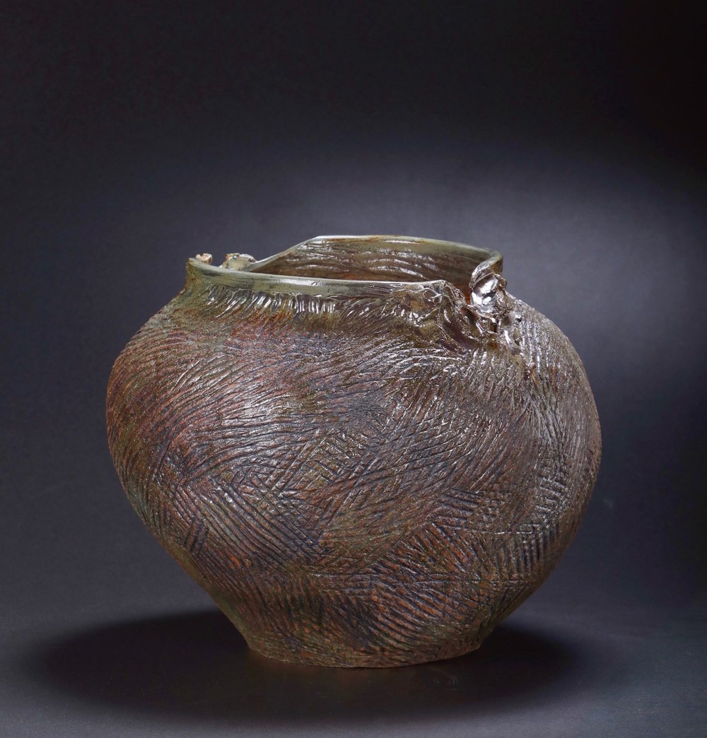 Mimi Howard,  Metallic Globe #6 , glazed stoneware, 20x17x15