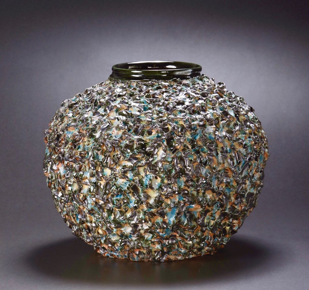 Mimi Howard,  Textured Globe #5 , glazed stoneware, 22x17x15