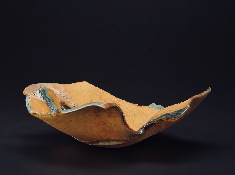 Mimi Howard,  Low Bowl, River Series #19 , glazed stoneware, 20x6x3