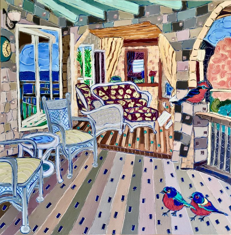 """""""Cecil and the Twins Relaxing on the Deck"""" by Nan Hass Feldman"""