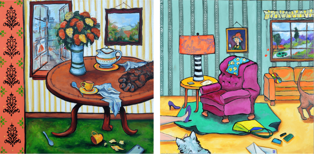 "LEFT: Anita Loomis, So Sophisticated, oil on canvas, 30"" x 30"" RIGHT: Anita Loomis, Witness, oil on canvas, 30"" x 30"""