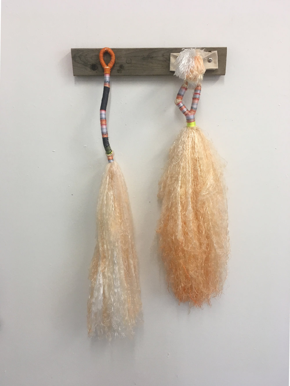"Sex Brooms, Orange , bound dyed nylon and canvas fixture, 36"" x 24"" x 6"""