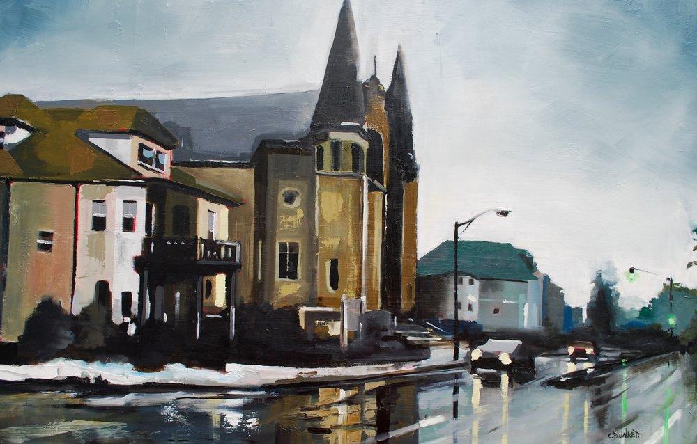 """Gallivan Blvd. , oil on wood panel, 24"""" x 36"""""""