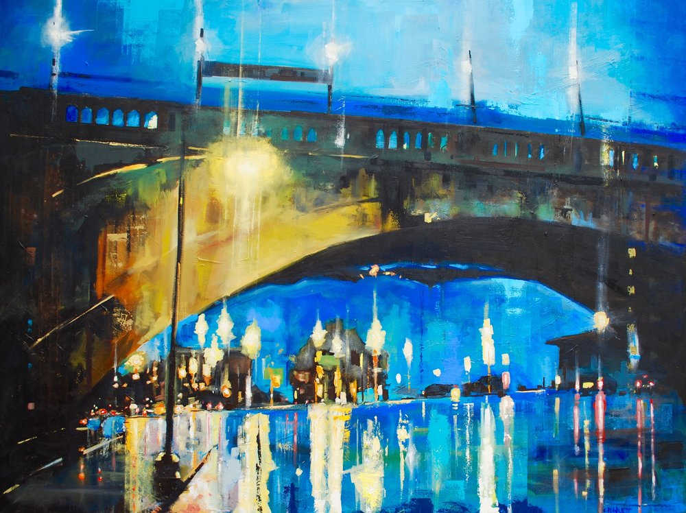 """Lechemere Viaduct #2 , oil on canvas, 56"""" x 72"""""""