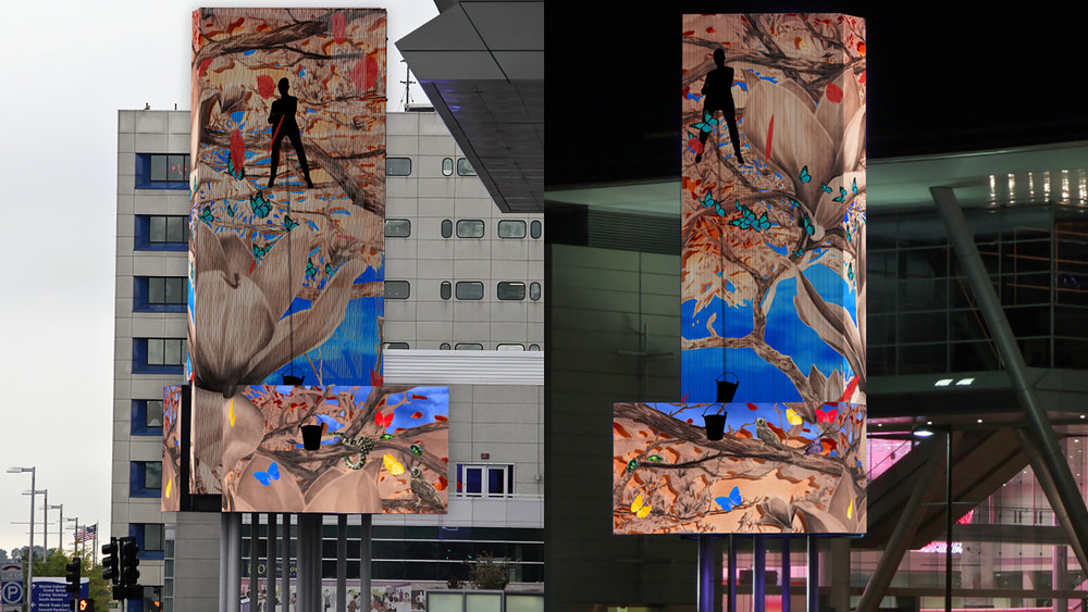 """""""Vanishing Points,"""" collaborative, public-art video installation by Allison Maria Rodriguez and Ashley Billingsley"""