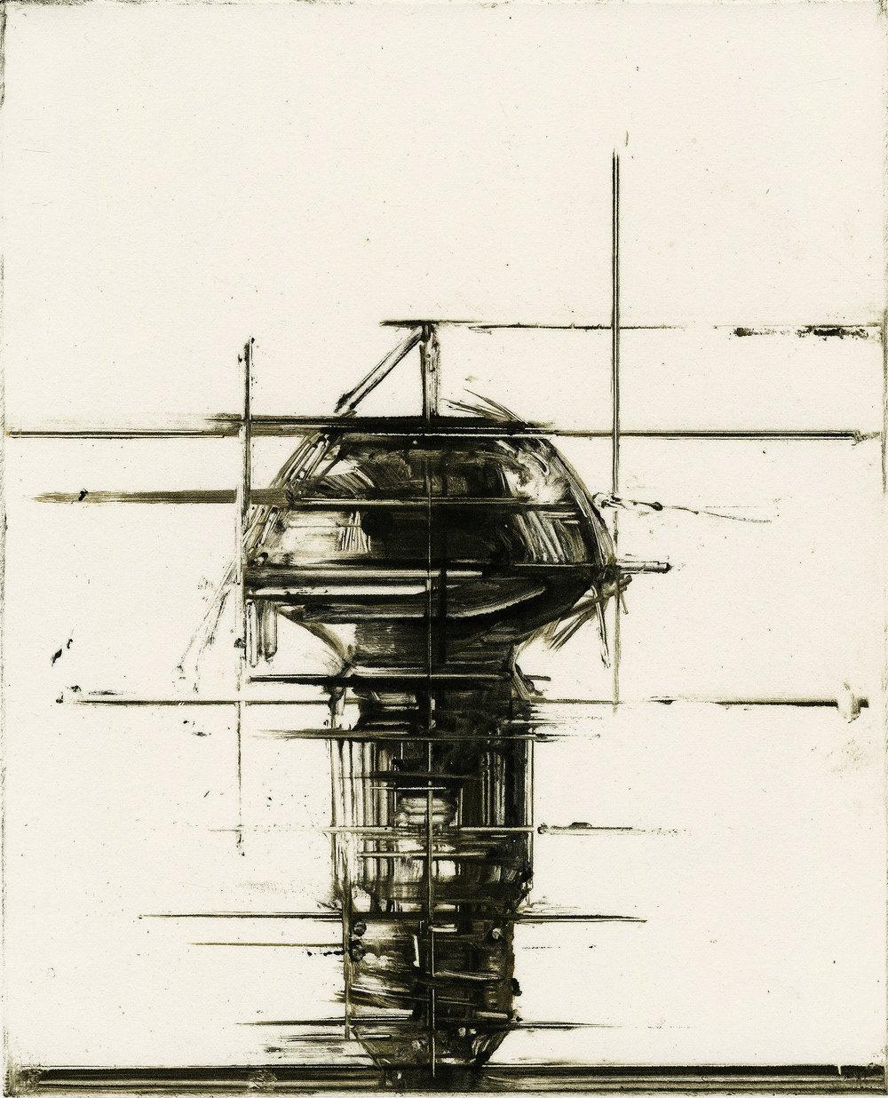Shao-Yuan Zhang,  Plate 9906 , monoprint, 8x9.5