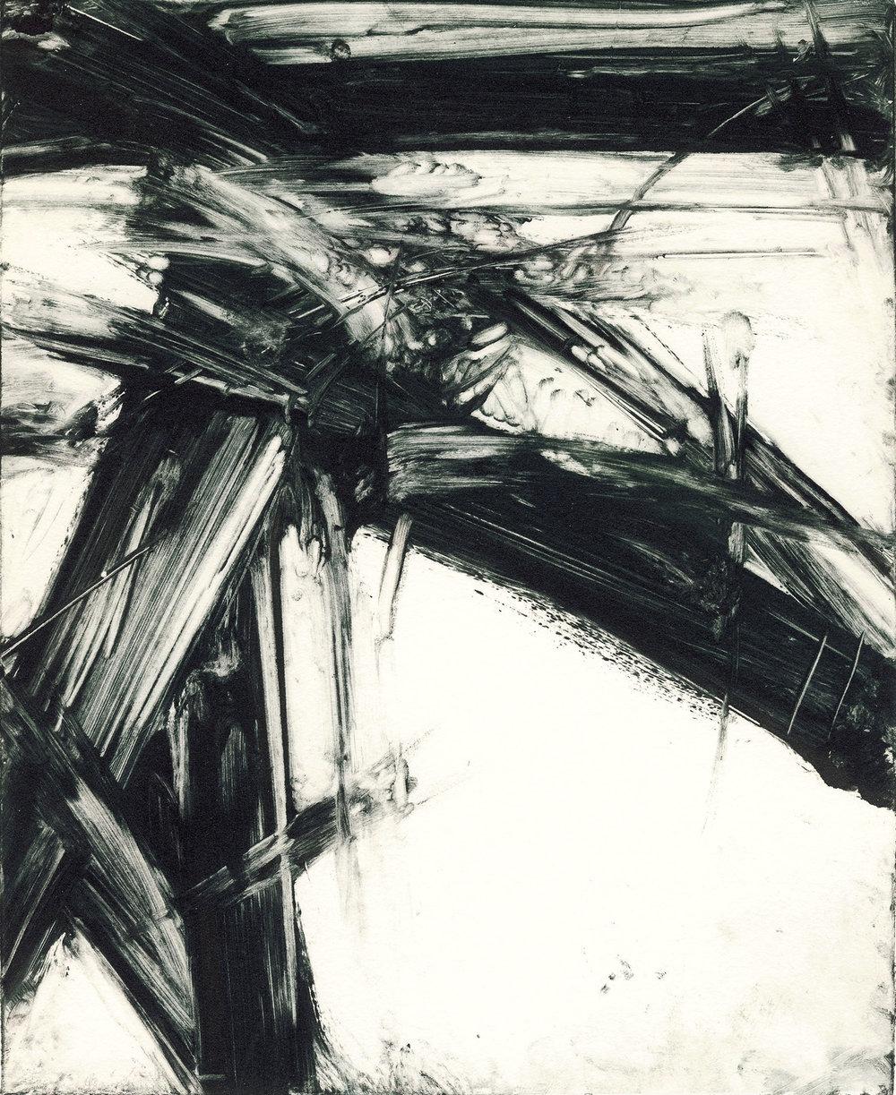 Shao-Yuan Zhang,  Plate 9820 , monoprint, 7x9
