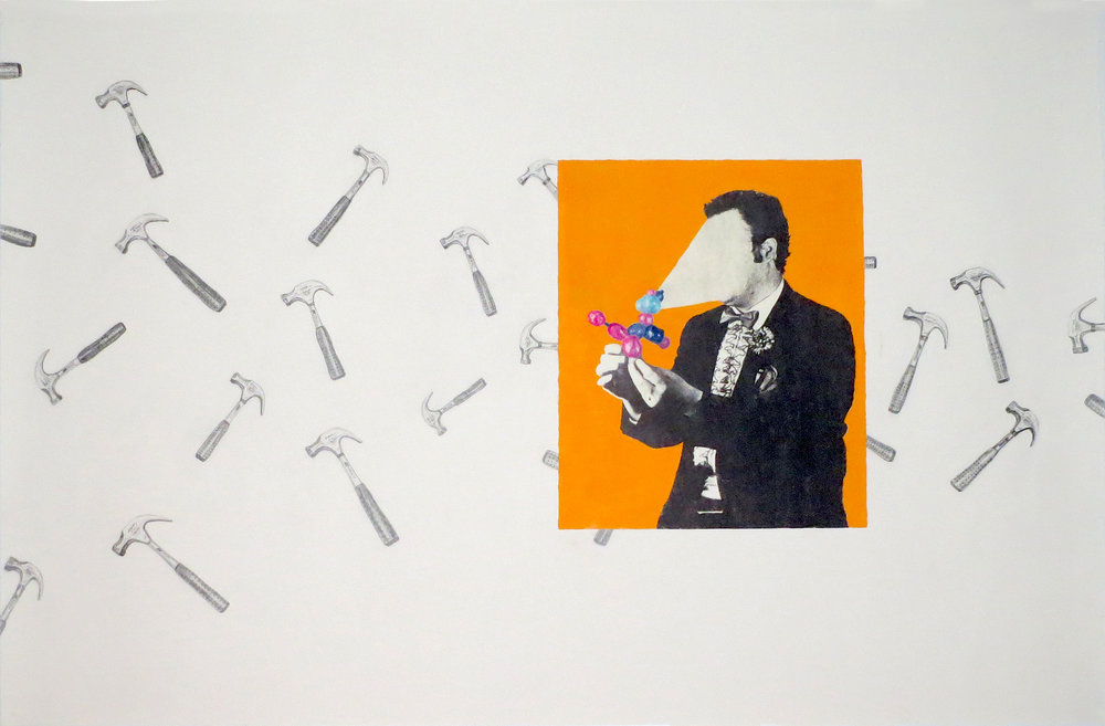 "John Buron,  Bright Shiny Objects , image transfer, gouache and graphite on paper, 28"" x 40"""