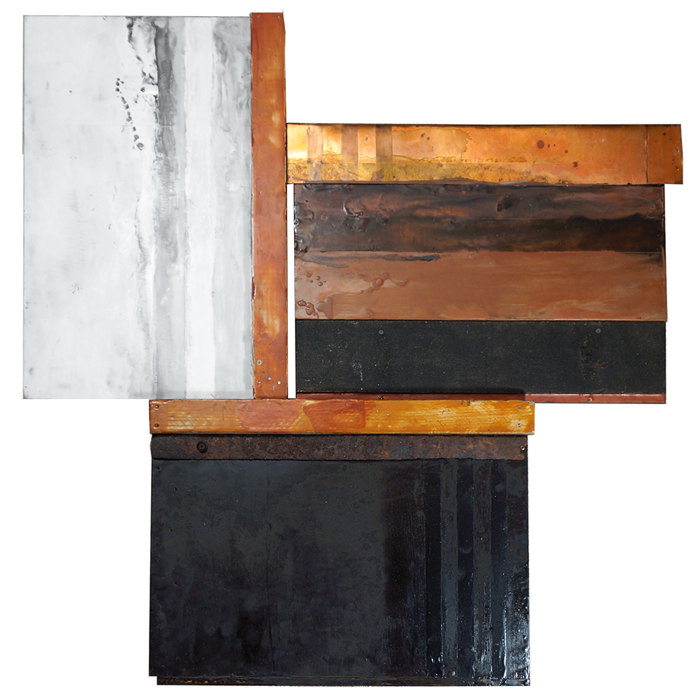 "Sue Katz,  Threesome , encaustic, wood and metal, 37""x37"""