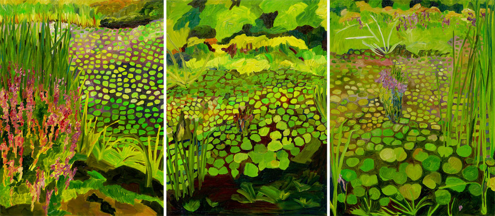 "Yvonne Troxell Lamothe,  Wetlands (triptych),  oil on panel, 24""x54"""